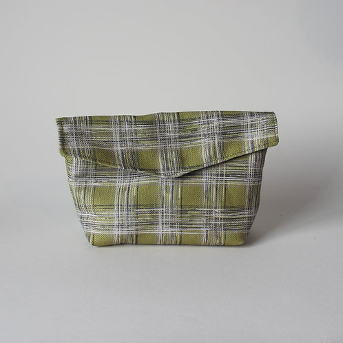Medium Popper Pouch- Lime Green Check