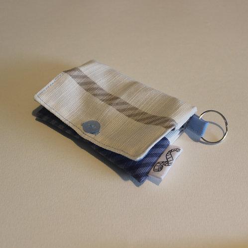 Cream and Blue Stripe Coin Purse