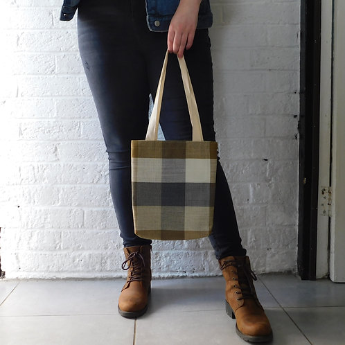 Tote Bag - Blue, Beige & Brown Check
