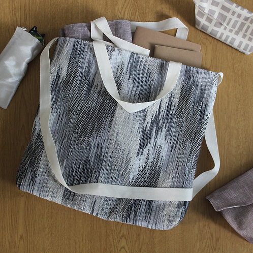 Grey Abstract Chevron Stripe Basic Tote Handbag