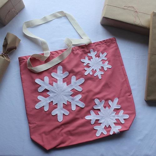 Pink Snowflakes Christmas Gift Bag