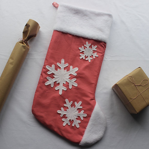 Pink Snowflake Christmas Stocking