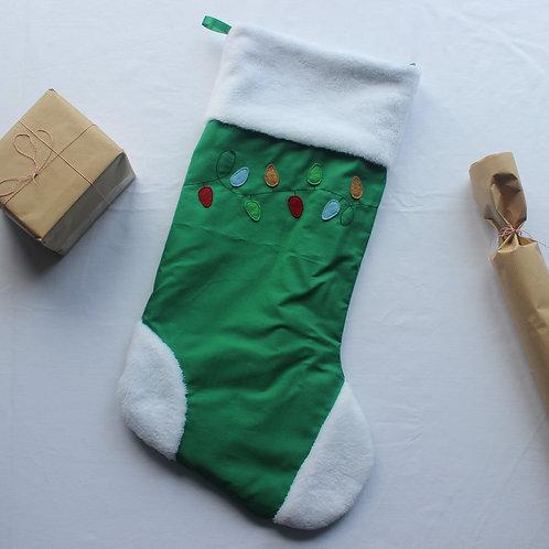 Green Christmas Lights Stocking