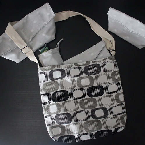 Medium Handbag - Grey and Black Geometric