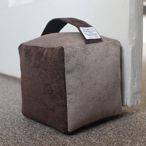 Cube Doorstop - Brown & Beige Needle Cord