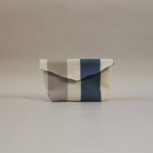 Small Popper Pouch - Cream with Blue Stripe