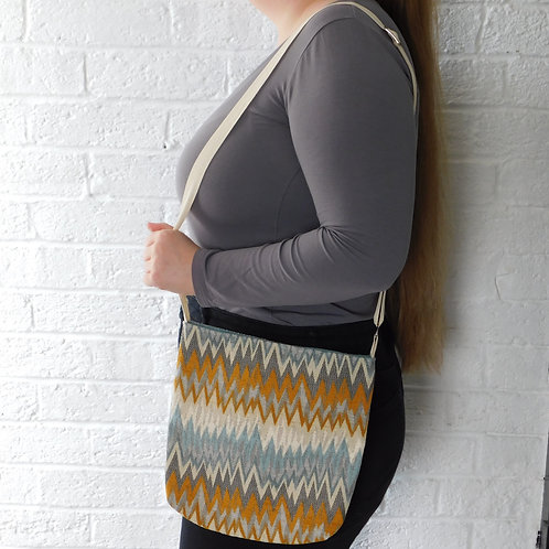 Medium Handbag -Orange and Blue Zig Zag