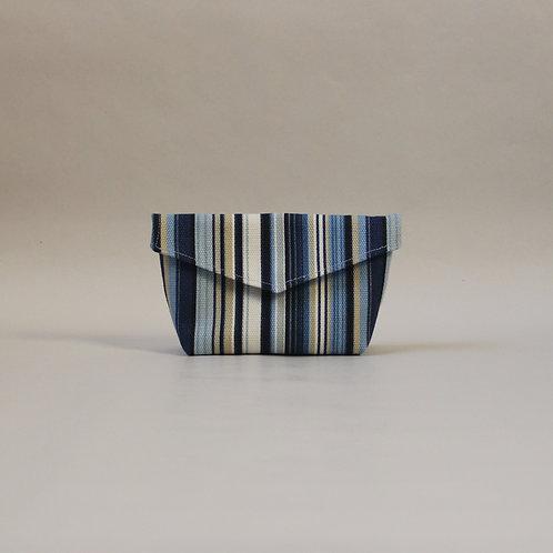 Small Popper Pouch - Blue Stripe
