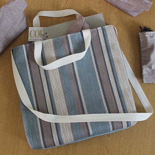 Brown & Blue Stripe Basic Tote Handbag