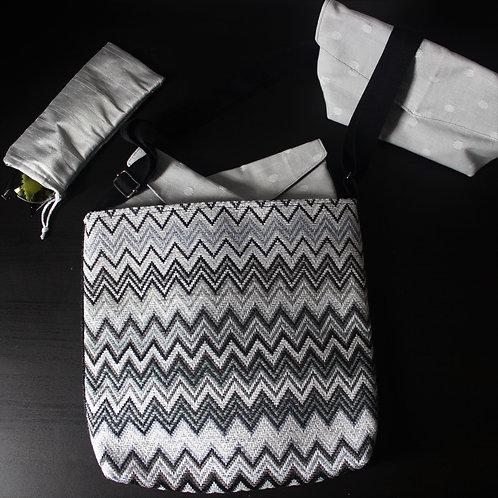 Medium Handbag - Monochrome Zig Zag