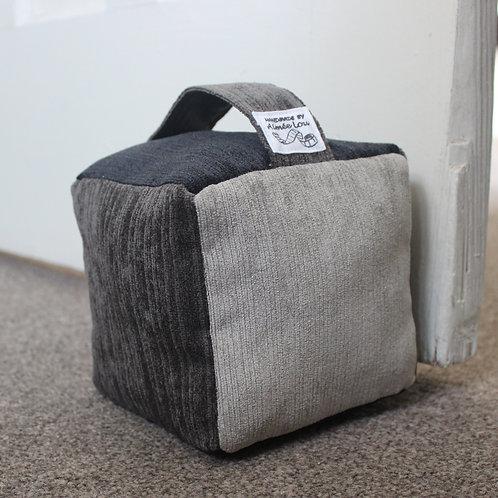 Cube Doorstop - Three Tone Grey Needle Cord