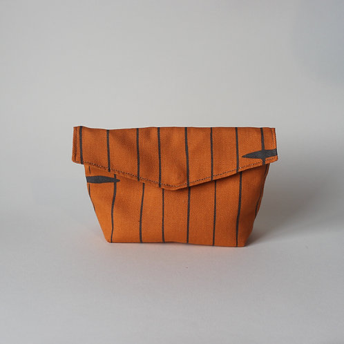 Medium Popper Pouch - Orange Abstract Stripe