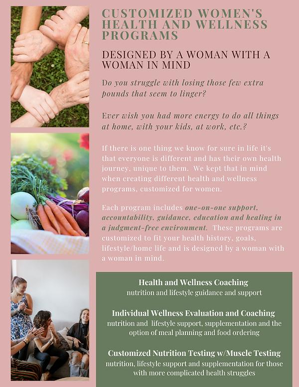 Customized women's health and wellness p