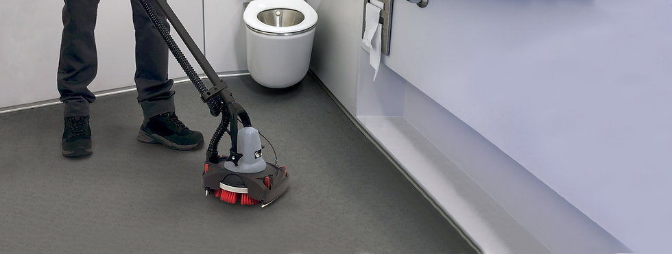 JET3 with Suction Kit attached, cleaning a train toilet