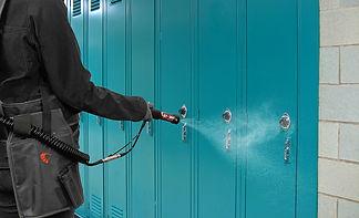 MotorScrubber STORM spraying lockers in a school