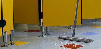MotorScrubber BLADE spraying toilet floor in school