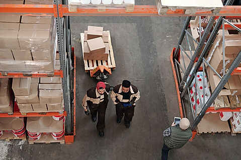 Distributors in a warehouse