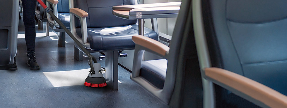 JET3 used to clean around seating on a train.