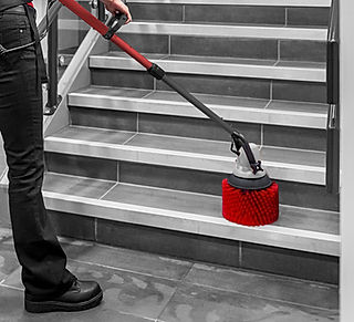 MotorScrubber JET3 cleaning stairs in a school