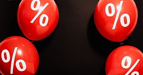 Percentage discount on red balloons