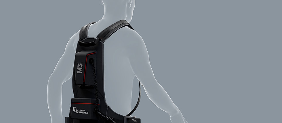 MotorScrubber M3 backpack on the back of a 3D render of a person.