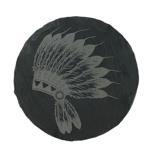 Warrior Headdress Slate Coaster
