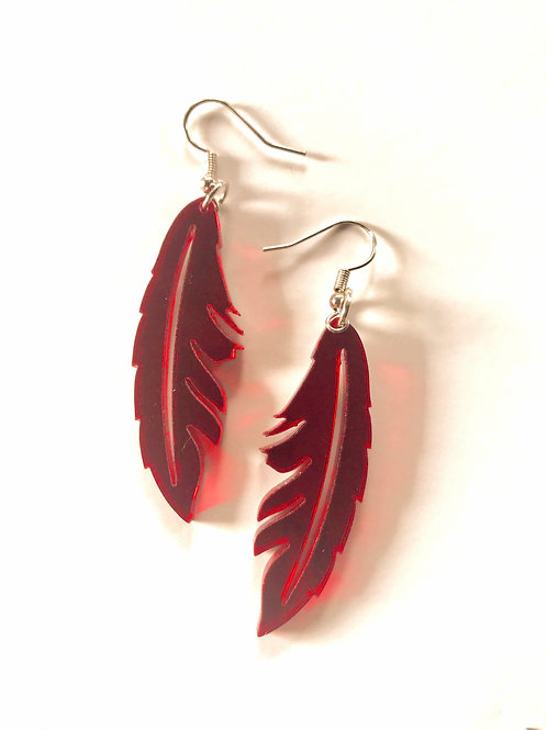 Mirror Acrylic Feather Earrings