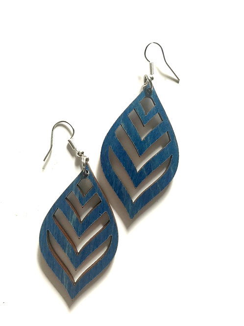 Wood Chevron Teardrop Earrings
