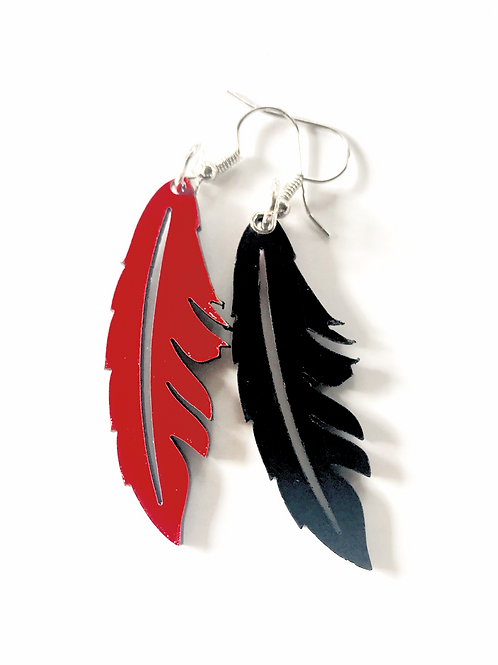 Reversible Acrylic Feather Earrings