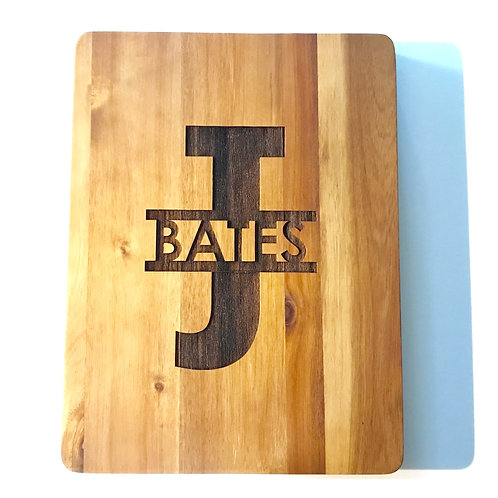 Split Monogram Acacia Cutting Board - Custom engraved