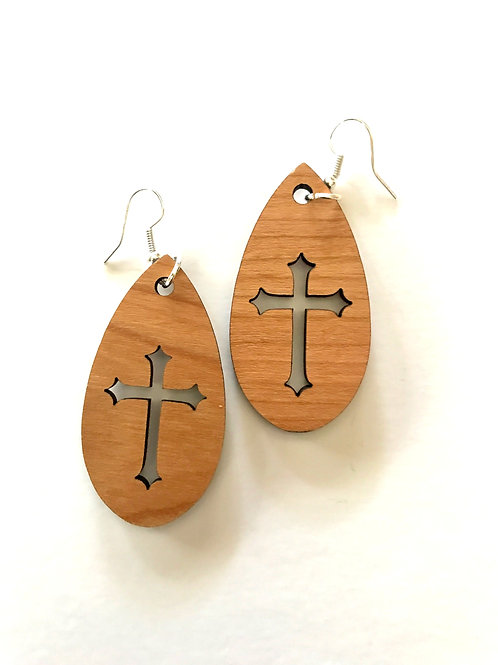 Cherry Cross Teardrop Earrings