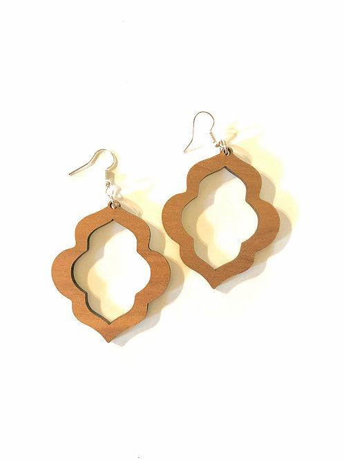 Walnut Moorish Frame Earrings