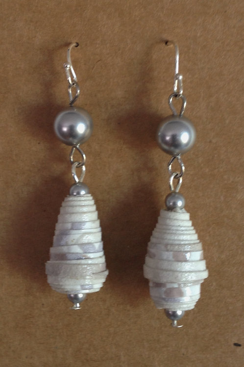 Paper bead/genuine freshwater pearl small drop earrings