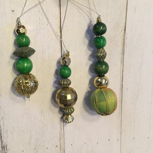 Set of 3 beaded tree decorations