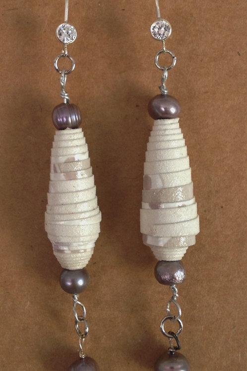 Paper bead/freshwater pearl earrings