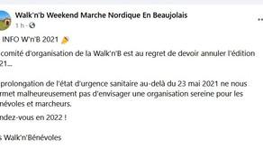 Annulation de la Walk'n'B 2021...