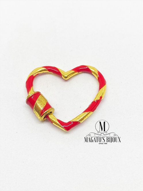Fecho Coração Dourado e Vermelho