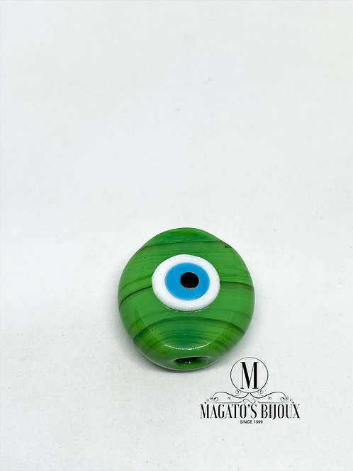 Olho Grego Achatado Verde Furo Passante