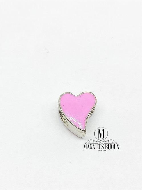 Berloque Coração Rosa Passante