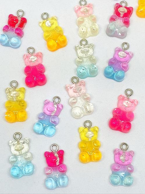 Pingente Ursinho Gummy Resina Coloridos (Sortidos)