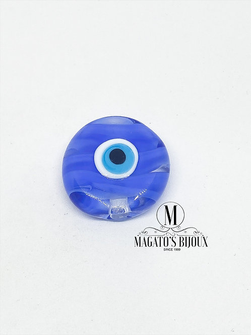 Olho Grego Azul Achatado Furo Passante