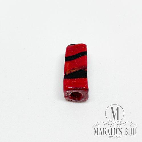Murano Retângulo Mesclado Preto e Vermelho