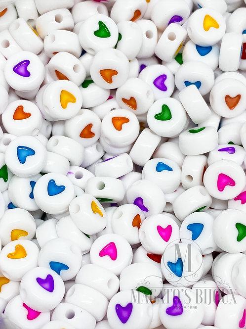 Contas de Coração Colorido