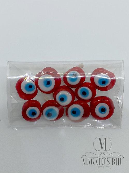 Olho Grego Achatado Furo Passante Vermelho