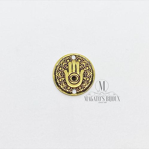 Medalha Mão Olho Grego Dourado