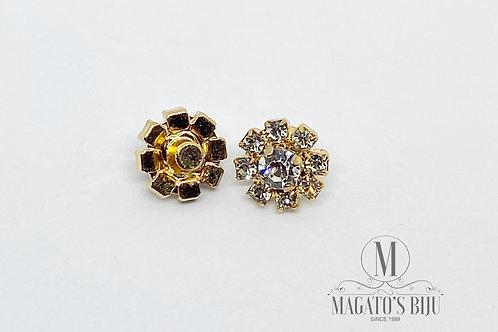 Piercing Flor Dourada c/ Strass