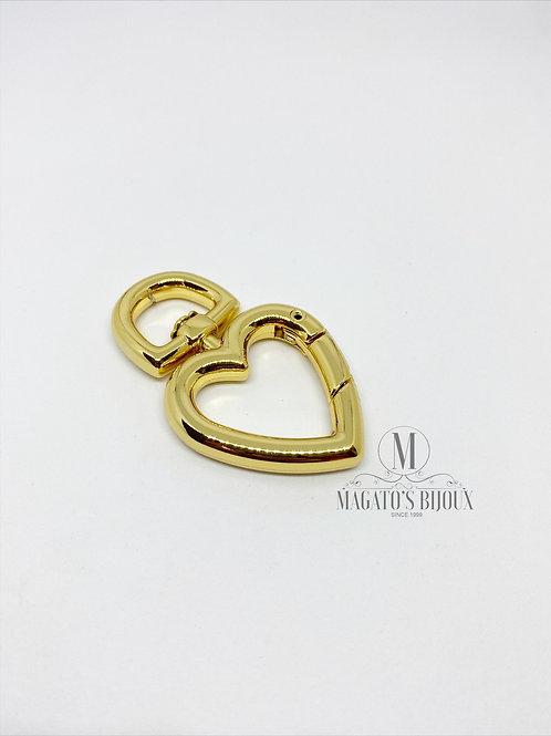 Fecho Mosquetão Dourado Coração
