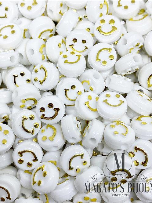 Contas de Smile Branco C/ Dourado