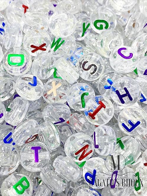 Contas de Letrinhas Transparentes com Letras Coloridas