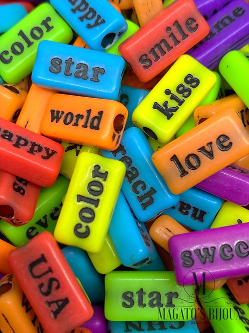 Contas de Palavras Colorido C/ Preto